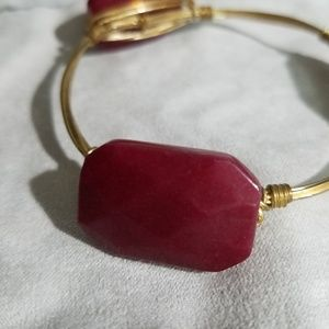 Bourbon and Bowtie Maroon Jade Bangle